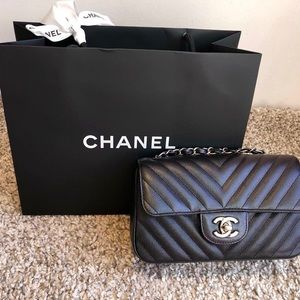 a5e27e108d63 Chanel iridescent Black Mini Rectangle Flap Bag